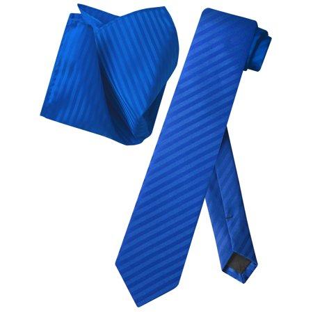 - Vesuvio Napoli Skinny NeckTie Royal Blue Vertical Stripes 2.5