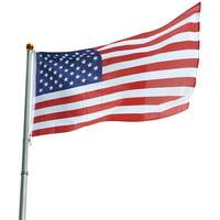 YesHom 25ft Telescopic Aluminum Flag Pole Kit 16 Gauge 3'x5' US Flag and Ball Top Telescoping Flagpole Fly 2 Flags