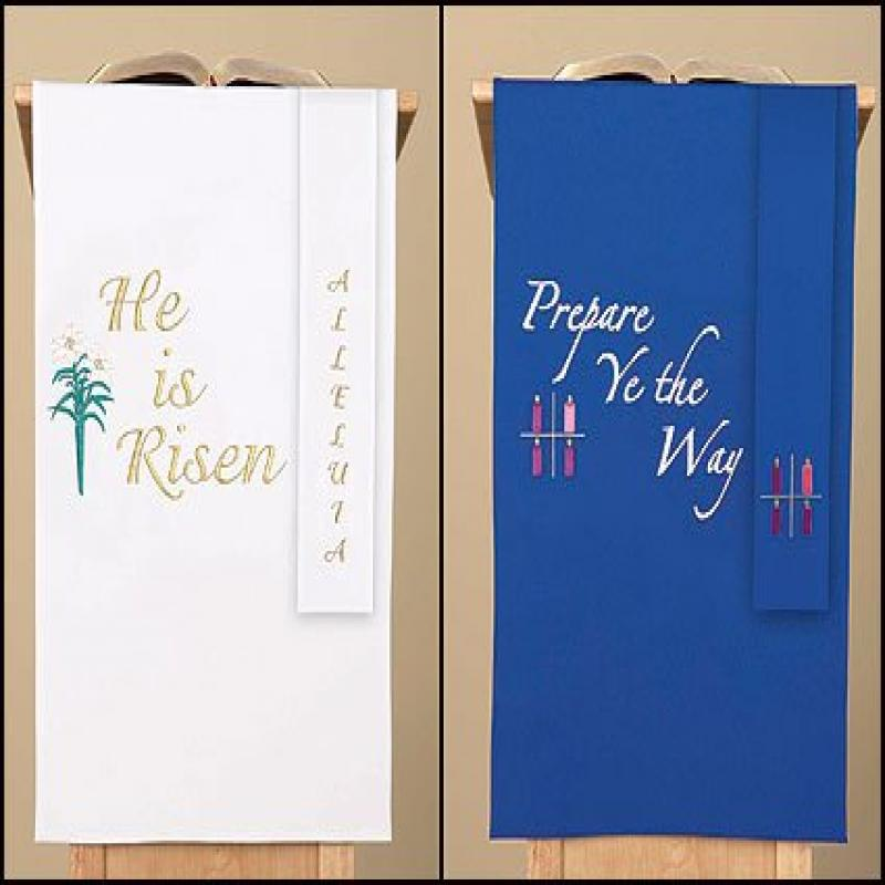 Blue/white Reversible Holiday Pulpit Scarf by Faithful Gifts