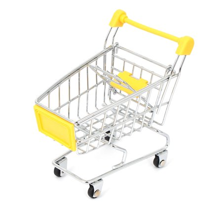 Mini Supermarket Shopping Hand Trolly Cart Model Toy Storage Container Yellow - image 3 de 3