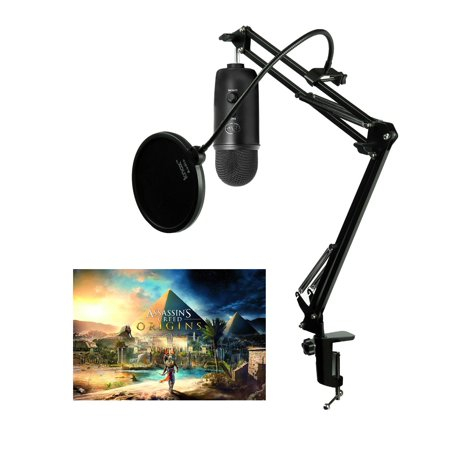 Blue Microphones Blackout Yeti Mic w/ Knox Desktop Arm, Pop Filter & Headphones
