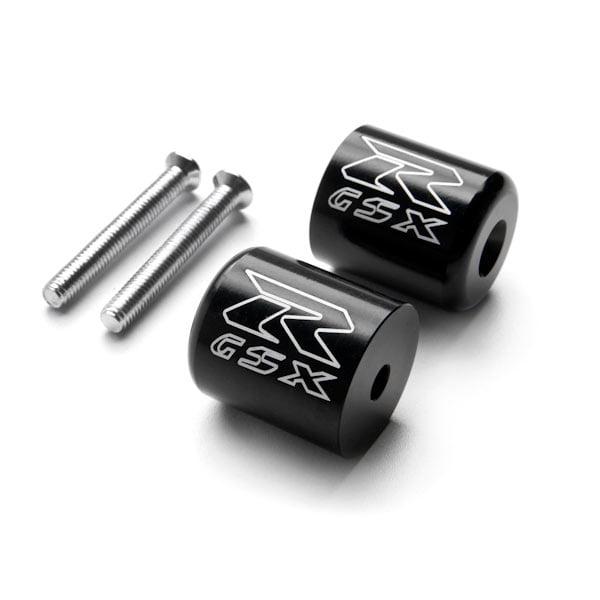 Krator Black Bar Ends GSXR Logo Hand Grip Handlebar Caps For Suzuki GSXR 600 1992-2013