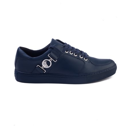 Versace Collection Men's Leather Medusa Logo Low Top Sneaker Shoes Navy Blue (Sneaker Men Dolce)