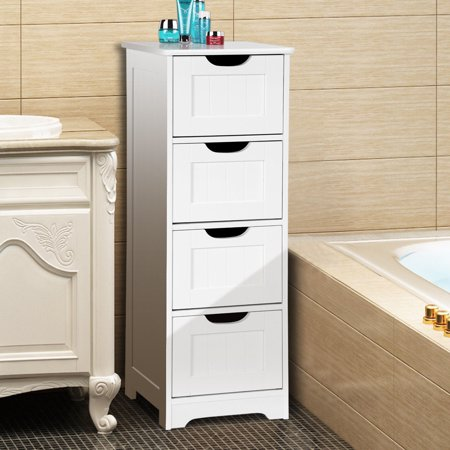 Gymax Bathroom Floor Cabinet Wooden Free Standing Storage Side Organizer W/4 Drawers