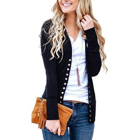 d933033d46b9 Issac Live - Women s V-Neck Button Down Knitwear Long Sleeve Soft ...