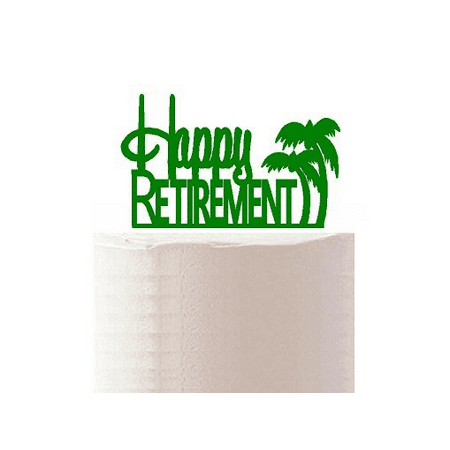 Happy Retirment Green Palm Tree Cake Decoration - Palm Tree Decoration