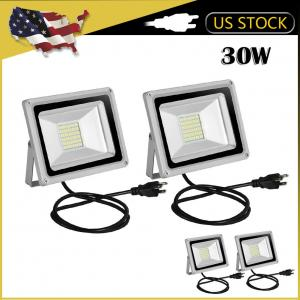 2pcs Ultraslim 30W LED Floodlight Outdoor Security Lights 110V Cool white