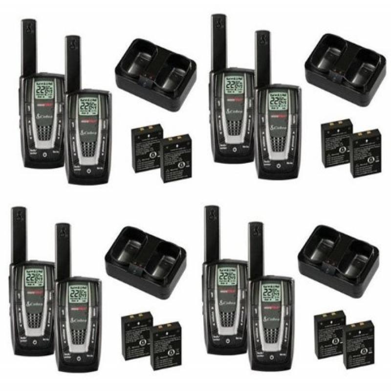 New! 4 PAIR COBRA CXR725 27 Mile 22 Channel FRS GMRS Walkie Talkie 2-Way Radios by