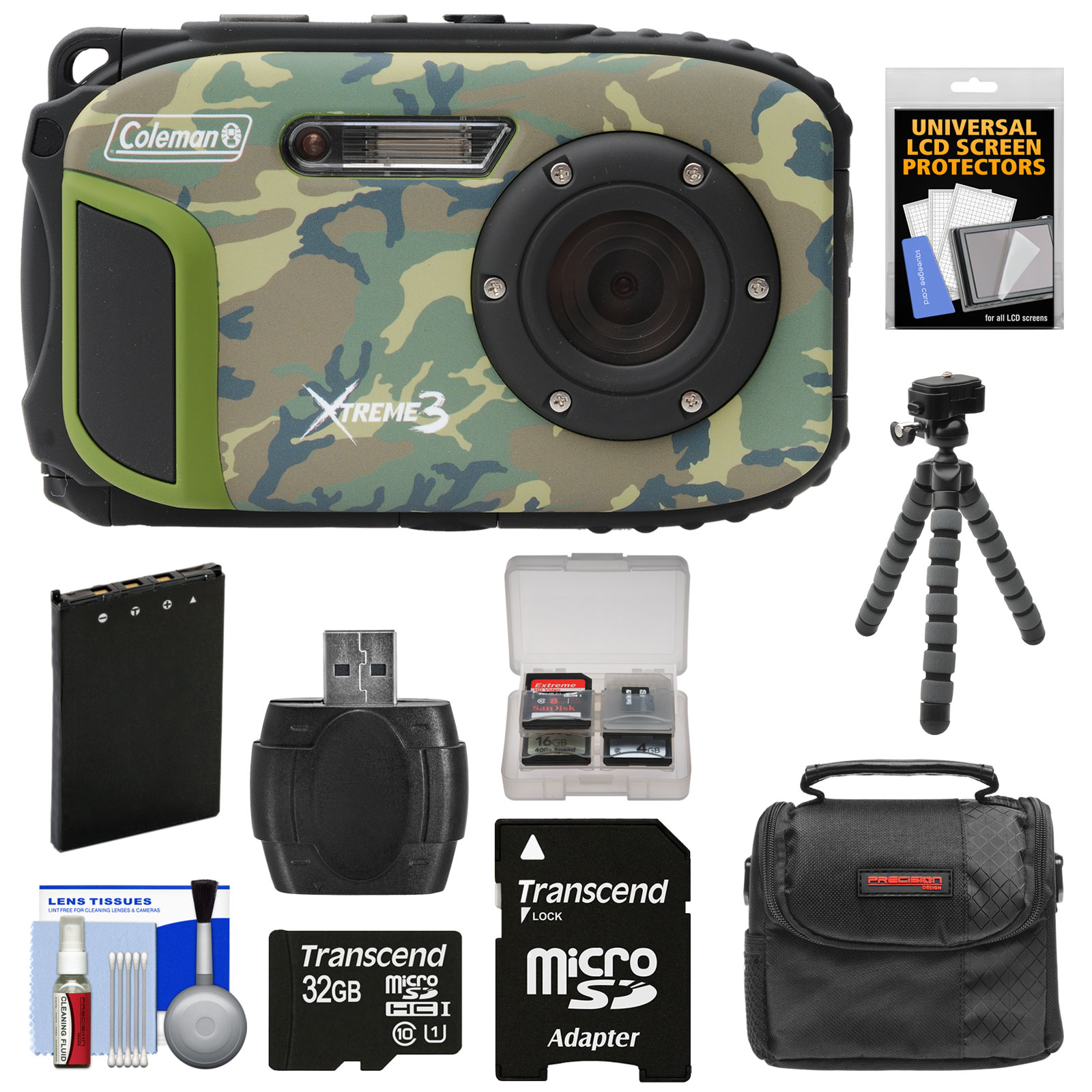 Coleman Xtreme3 C9WP Shock & Waterproof 1080p HD Digital Camera (Blue) with 32GB Card + Battery + Case + Flex Tripod +... by Coleman