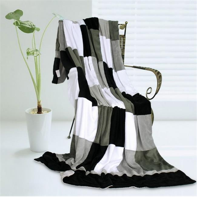 ONITIVA-BLK-028 Onitiva - Plaids - Reflection Soft Coral Fleece Patchwork Throw Blanket