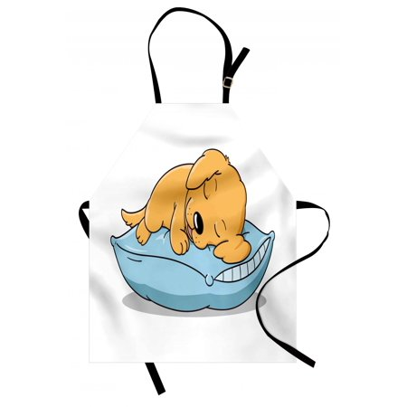 Golden Retriever Apron Cute Puppy Sleeping on a Pillow in Cartoon Style for Kids, Unisex Kitchen Bib Apron with Adjustable Neck for Cooking Baking Gardening, Pale Orange and Baby Blue,
