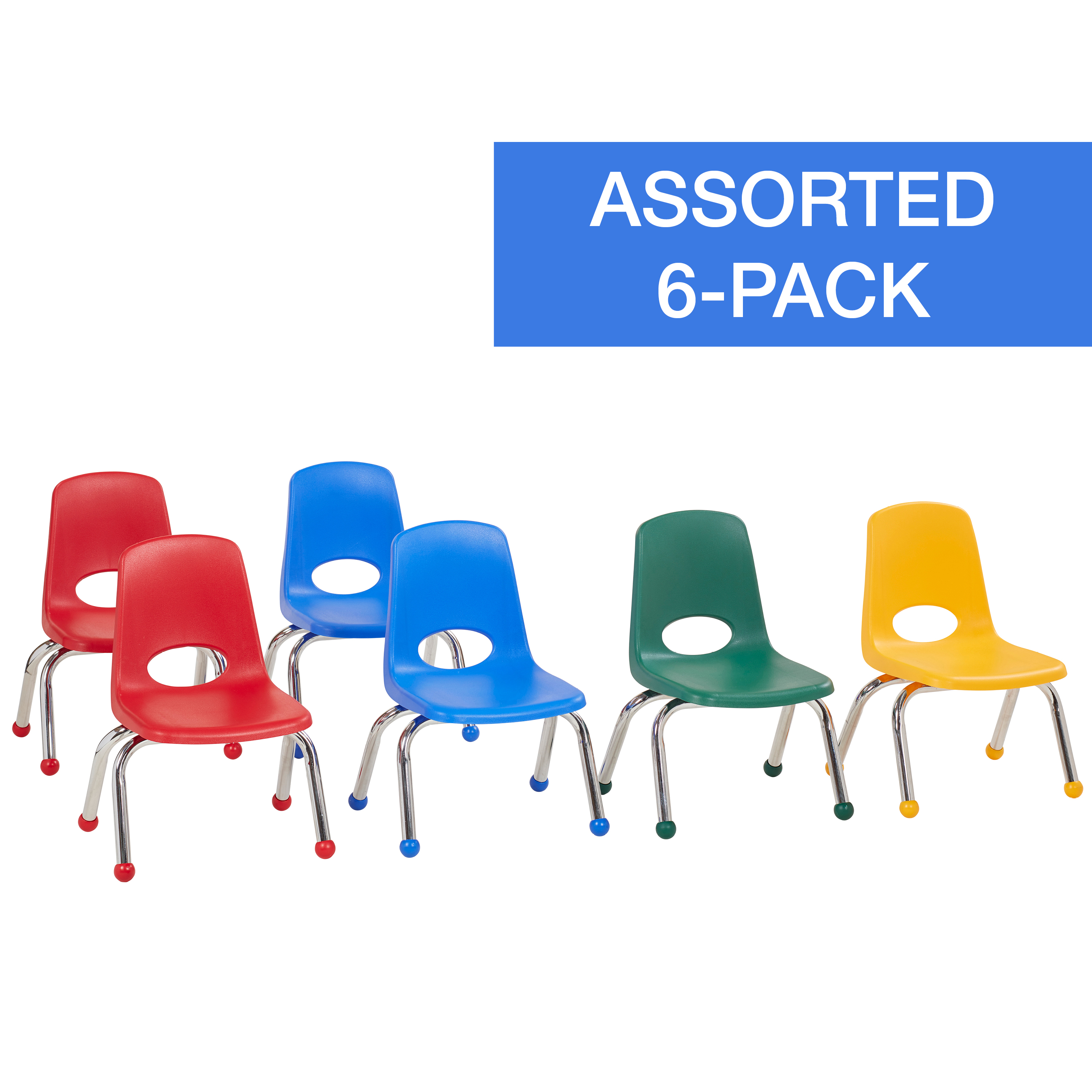 10in Stack Chair Chrome Legs Ball Glide 6-Piece - Assorted