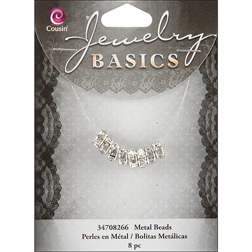 Jewelry Basics Metal Beads, 8mm, 5pk, Silver, and Crystal Rondelle