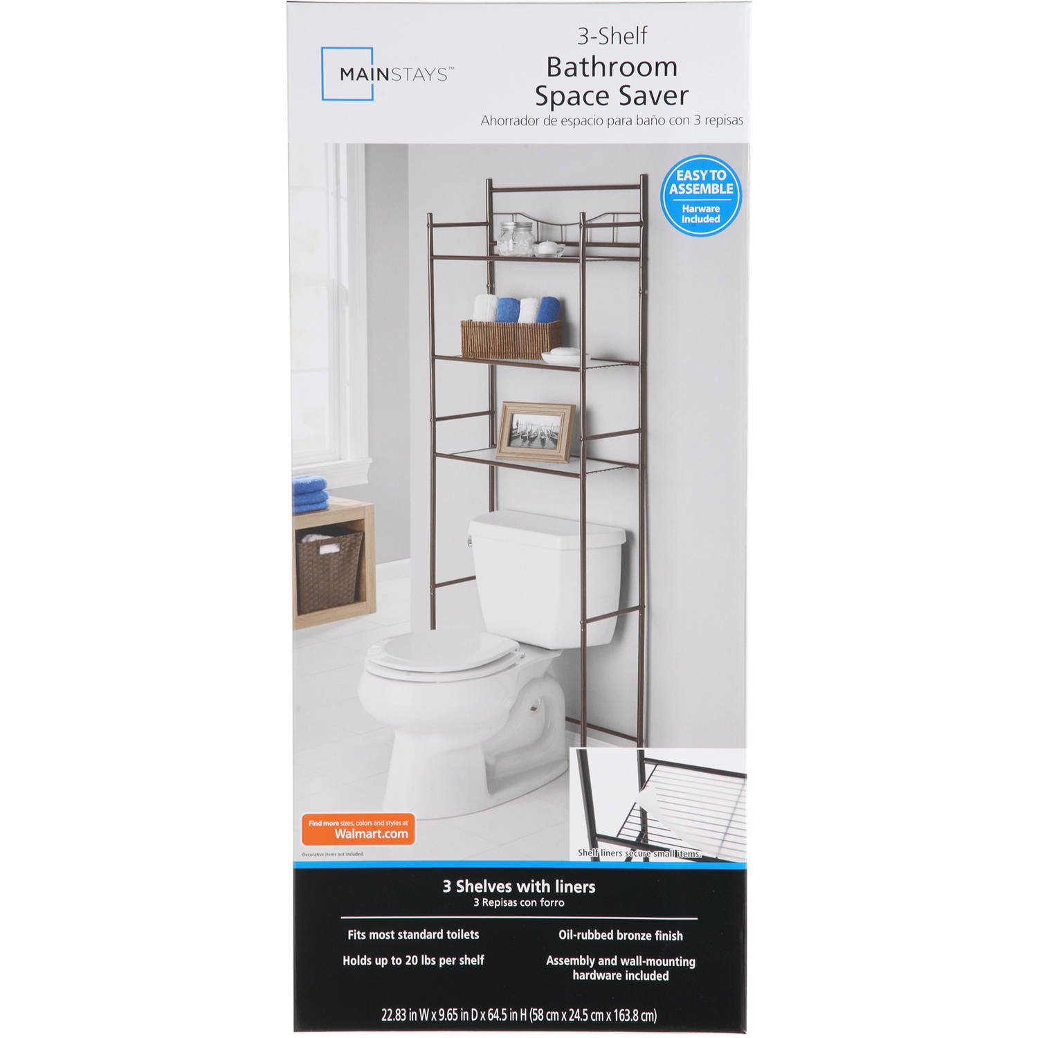 mainstays 3-shelf bathroom space saver, oil-rubbed bronze finish