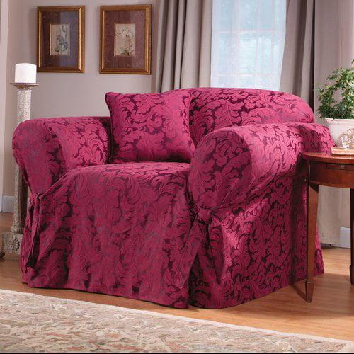 Sure Fit Scroll Classic Box Cushion Armchair Slipcover Walmart Com Walmart Com