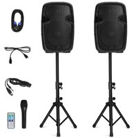 Costway Dual 12'' 2-way 1600W Powered Speakers w/ Bluetooth + Mic + Speaker Stands + Control + Cables