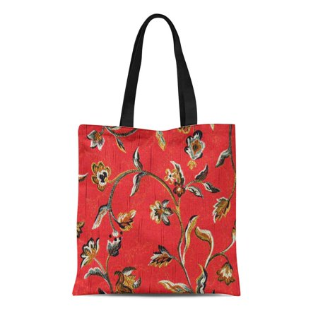 Brocade Jacquard - ASHLEIGH Canvas Tote Bag Colorful Designs Brocade Floral Red Jacquard Home Flowers Pastel Reusable Handbag Shoulder Grocery Shopping Bags