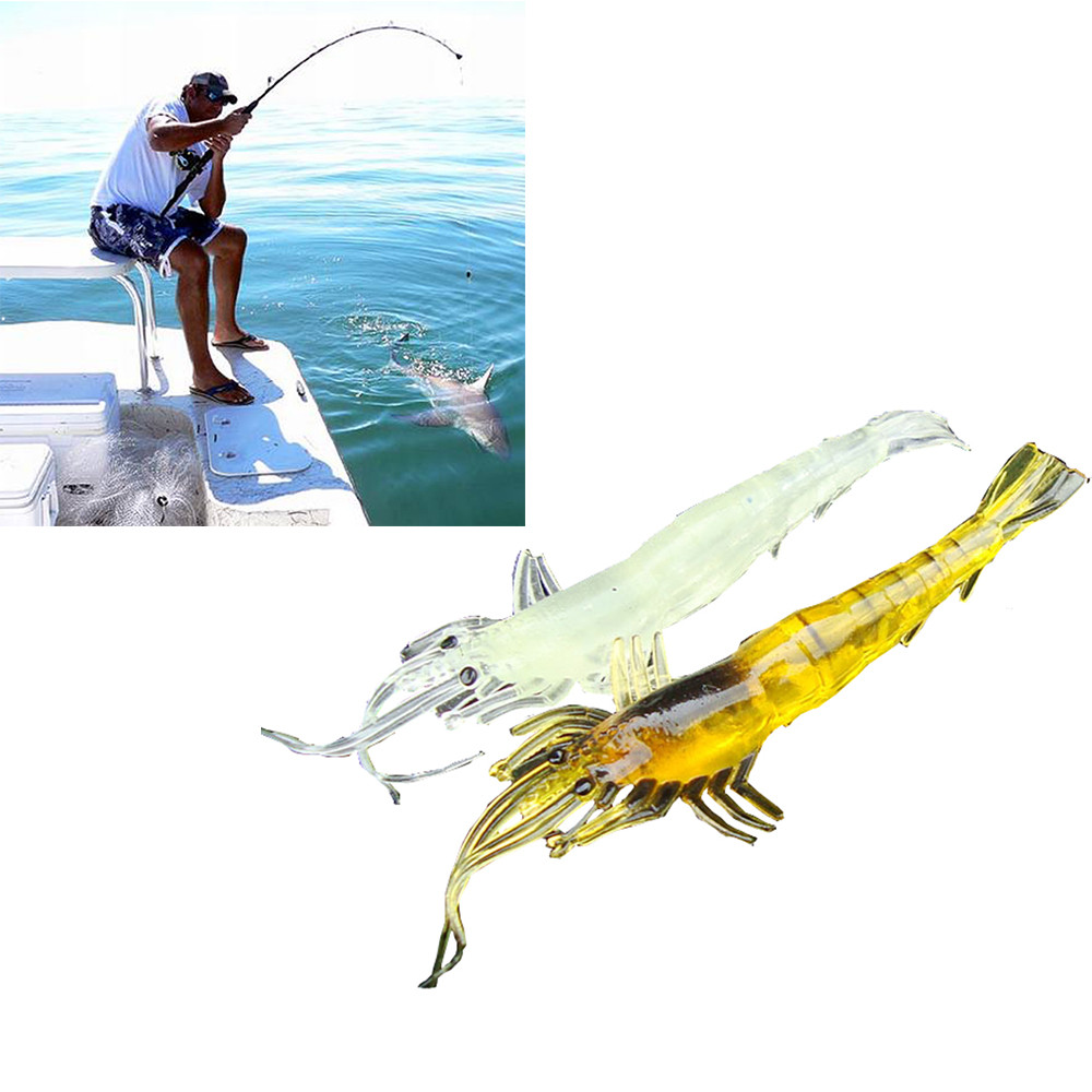 5pcs Shrimp Soft Prawn Lure Hook Tackle Bait Saltwater Bass Fishing Lures by