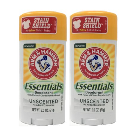 2 Pack Arm & Hammer Essentials Deodorant Solid, Unscented 2.5 Ounce - Arm And Hammer Deodorant