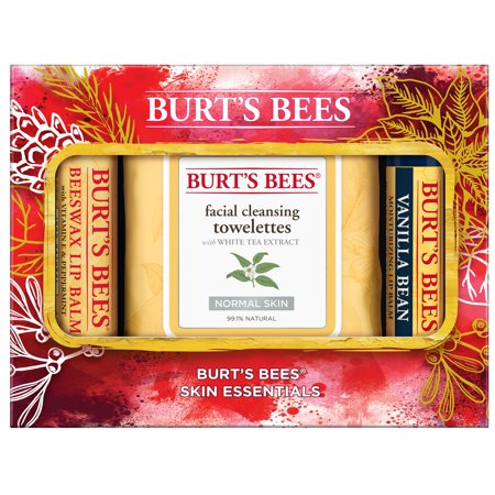 (Burt's Bees Skin Essentials Holiday Gift Set, 3 Face Products - Lip Balms and Cleansing Towelettes)