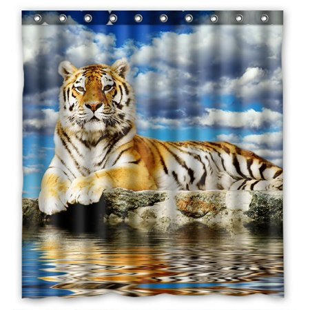 PHFZK Landscape Nature Scenery Shower Curtain, Animal Tiger Lay in the Storm Sky Polyester Fabric Bathroom Shower Curtain 66x72 -