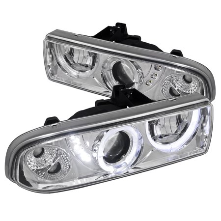 Spec-D Tuning 1998-2004 Chevy S10 Pickup Blazer Smd Led Dual Halo Projector  Headlights 98 99 00 01 02 03 04 (Left + Right)