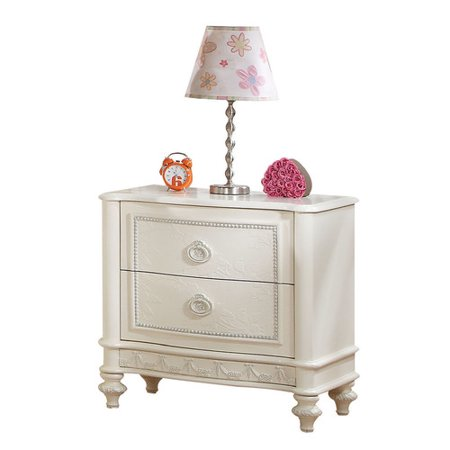 - Acme Dorothy Nightstand with 2 Drawers, Ivory