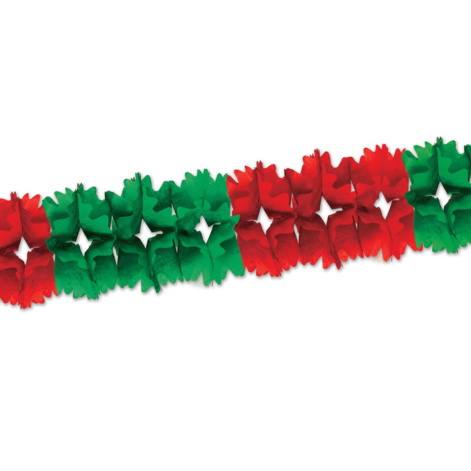 Club Pack of 12 Red and Green Festive Pageant Garland Decorations 14.5'