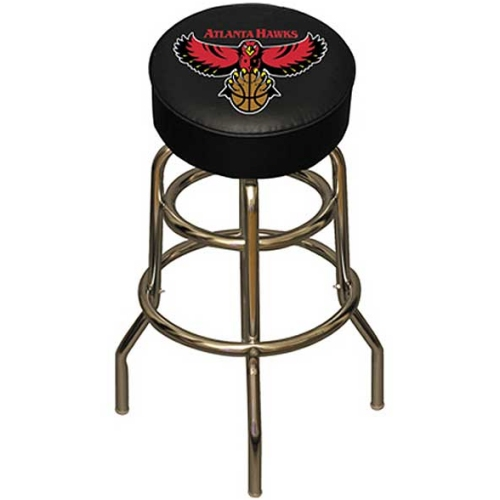 NBA Atlanta Hawks Chrome Metal Bar Stool with Swivel Seat Game Room Barstool