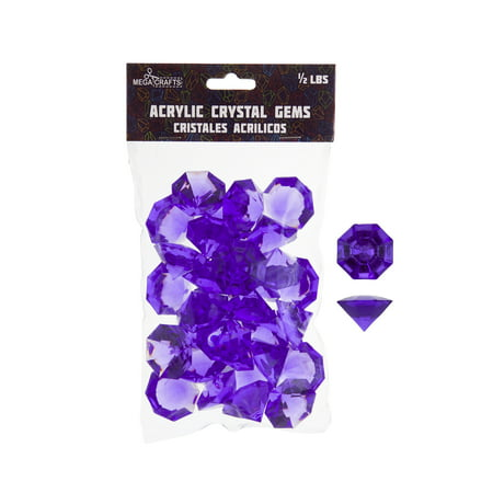Mega Crafts - 1/2 lb Acrylic Large Diamonds Purple | Plastic Glass Gems For Arts And Crafts, Vase Fillers And Table Scatters, Decoration Stones, Shiny Pebbles (April Crafts)