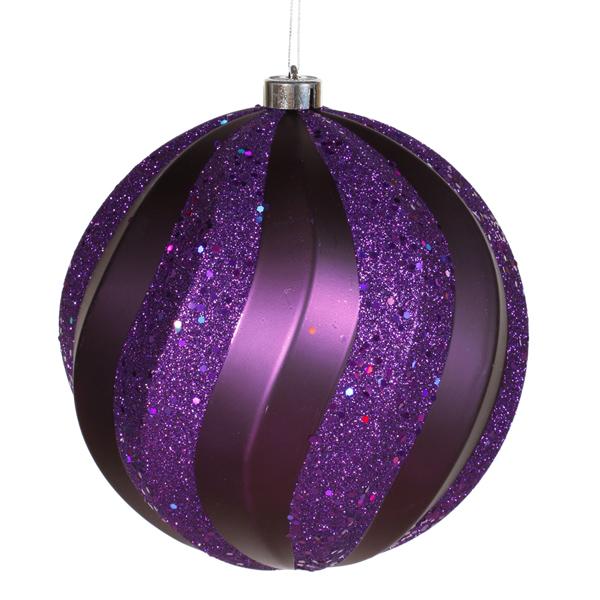 "Purple Matte and Glitter Swirl Shatterproof Christmas Ball Ornament 8"" (200mm)"