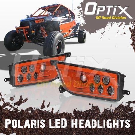 Optix 2015-2017 Polaris RZR 1000 XP Style H13 LED Headlight Orange - Pair Left #2412333 / Right #2412334 (Air Optix Günstig)
