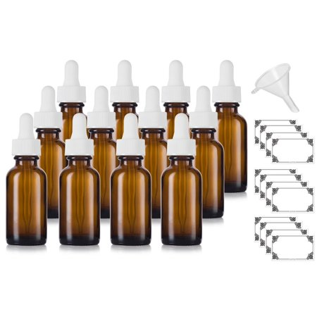 1 Oz Amber Gl Boston Round White Dropper Bottle 12 Pack Funnel And Labels For Essential Oils Aromatherapy E Liquid Food Grade Bpa Free