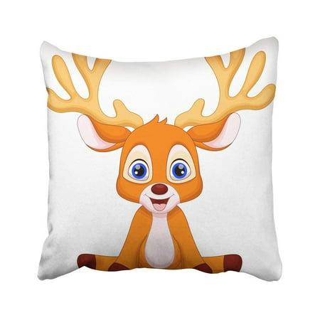 ARTJIA Brown Reindeer Cute Baby Deer Cartoon Sitting Red Character Elk Animals Antler Beauty Pillowcase 18x18 inch