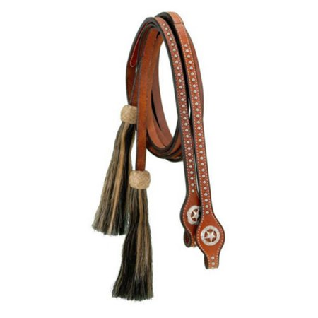 Royal King Split Reins with Silver Dots Star Conchos and Horsehair Tassels