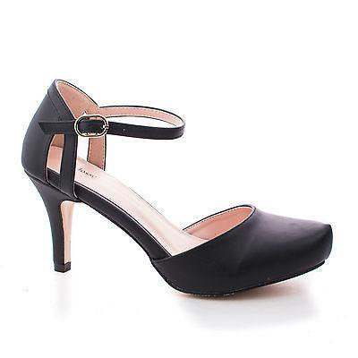 Ankle Cuff Pumps - Calvin4 by Blossom Comfort, Almond Toe D'orsay Ankle Cuff Extra Insole Comfort Dress Pumps