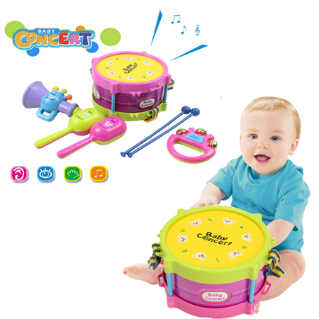 Baby Concert Toys 5PC New Roll Drum Musical Instruments Band Kit Unisex Colorful Educational Learning and Development Toys Gift for Toddler Infant Newborn Children Kids Boys
