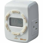 Woods 50029WD White Indoor Plug-In Astronomical Timer with 2 Grounded Outlets