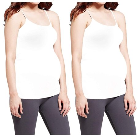b467557ddd0d6 Simplessa - Maternity Tank Top Camisole Shirt Stretch Cami Motherhood Pregnancy  Nursing Top (One Size Fits All (Super Stretch), 2 Pack -White Maternity ...
