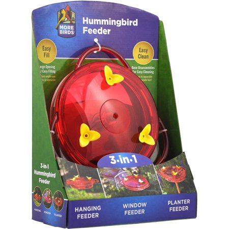 More Birds 3-In-1 Hummingbird Feeder Double Hummingbird Red Feeder