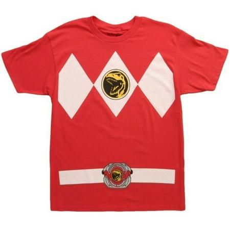 Mighty Morphin Power Rangers Red Ranger Mens T-Shirt | XL](Power Ranger Suits)