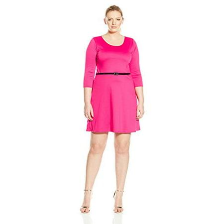 Star Vixen Women\'s Plus-Size 3/4 Sleeve Solid Ponte Skater Dress with Belt,  Fuchsia, 1X