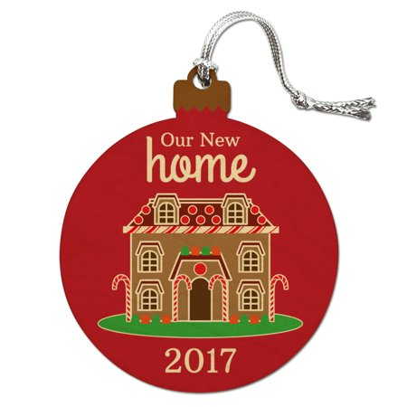 Our New Home 2018 Gingerbread House on Red Wood Christmas Tree Holiday (Gingerbread House Holiday Ornament)