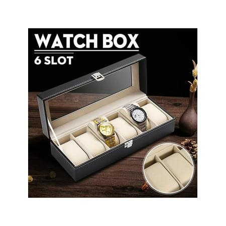 PU Leather 6 Slots Grid  Men Wrist Watch Storage Box Holder Glass Top Display Woman Jewelry Organizer - Watch Jewelry Box