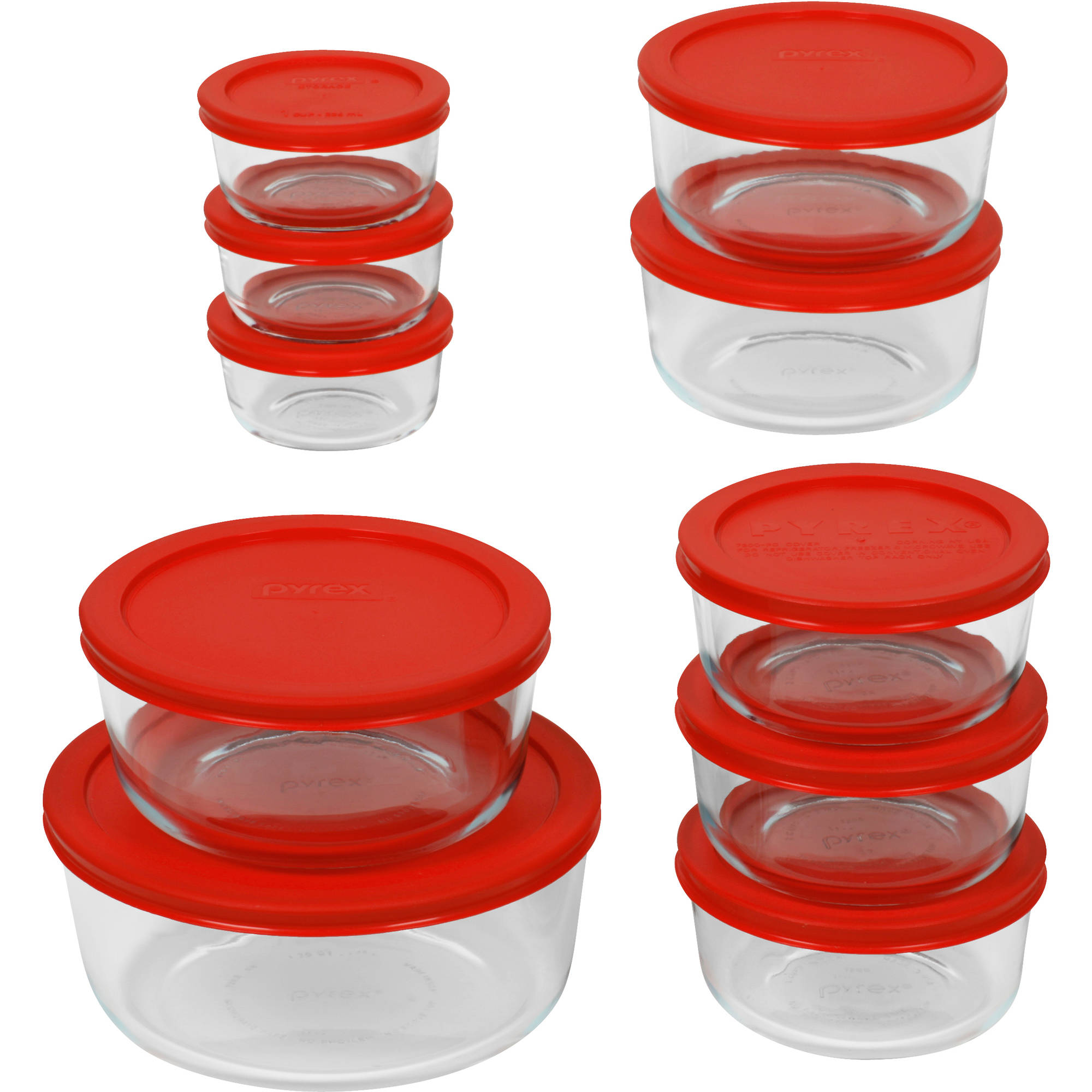 Merveilleux Pyrex 20 Pc Storage Plus Set. Glass Food Storage, Bakeware, Red    Walmart.com