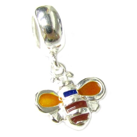 Queenberry Sterling Silver Honey Bee Enamel European Style Dangle Bead Charm Fits -