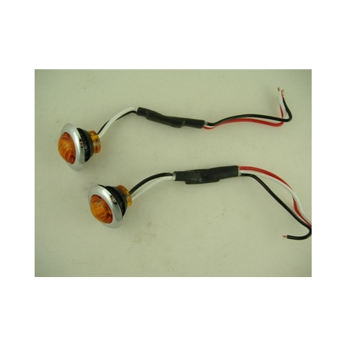 "Custom Mini 3//4/"" Round Amber 3 LED Marker Turn Lights SS Bezels 2 Grommets"