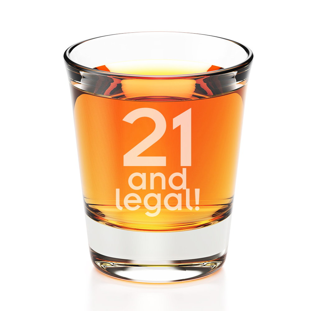21 and Legal Engraved Fluted Shot Glass