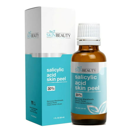 SALICYLIC ACID Skin Chemical Peel 30% | Natural Beta Hydroxy Acid (BHA) For Oily Skin | Treats Acne, Clogged Pores, Blackheads, Seborrheic Keratosis, Warts, Scars &