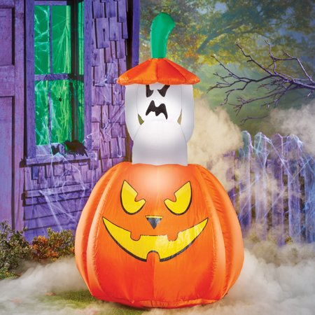 Halloween Inflatable Decorations Sale (Collections Etc 4 Foot Inflatable Animated Ghost Halloween Decoration, Lighted, Lawn Yard Garden Outdoor)